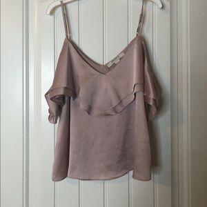 Satin pink cold shoulder top